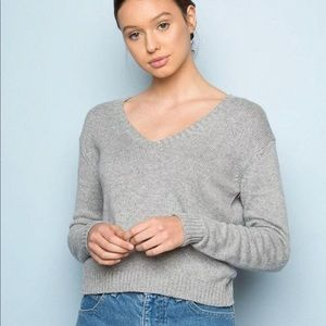 Brandy Melville Gray Wool V-Neck Sweater